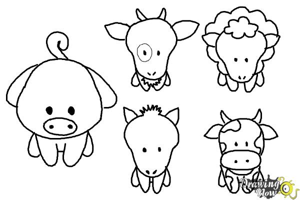 How to Draw Farm Animals For Kids - Step 17
