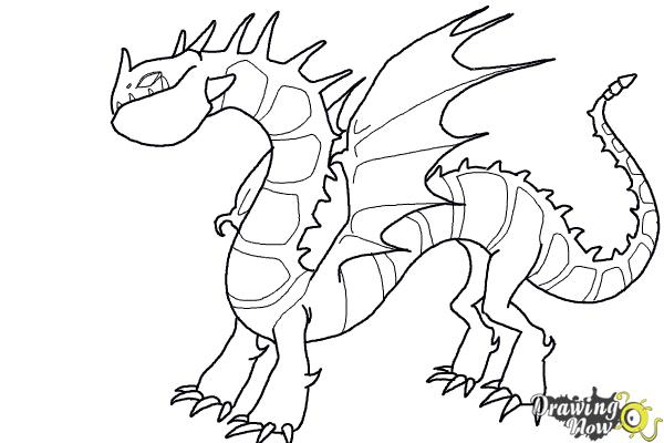 How to Draw a Grapple Grounder Dragon from How to Train Your Dragon - Step 10