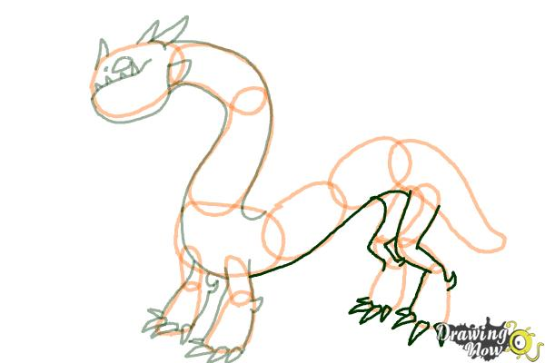 How to Draw a Grapple Grounder Dragon from How to Train Your Dragon - Step 6