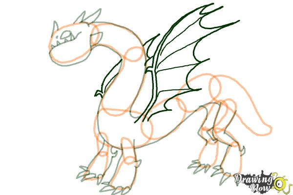 How to Draw a Grapple Grounder Dragon from How to Train Your Dragon - Step 7