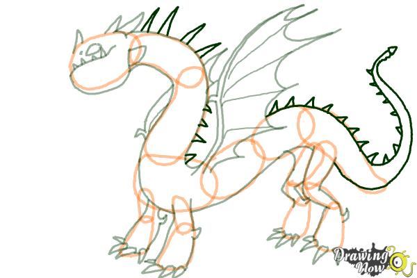 How to Draw a Grapple Grounder Dragon from How to Train Your Dragon - Step 8