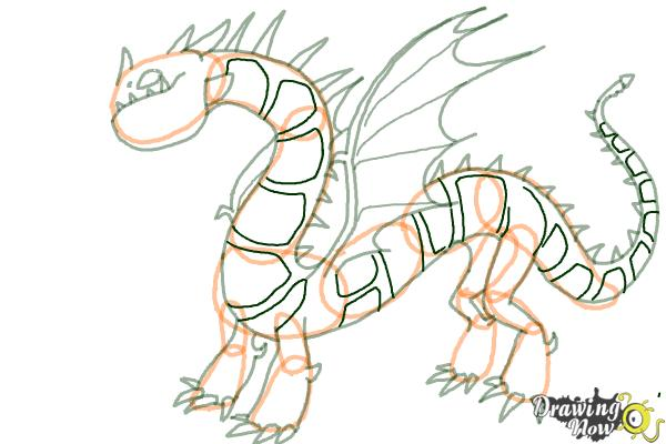 How to Draw a Grapple Grounder Dragon from How to Train Your Dragon - Step 9