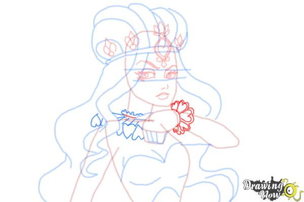 How to Draw Lizzie Hearts The Daughter Of The Queen Of Hearts from Ever After High - Step 10