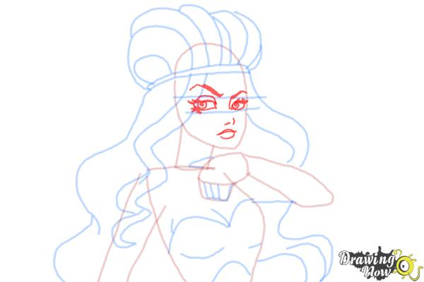 How to Draw Lizzie Hearts The Daughter Of The Queen Of Hearts from Ever After High - Step 8