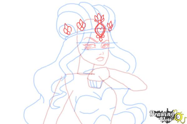 How to Draw Lizzie Hearts The Daughter Of The Queen Of Hearts from Ever After High - Step 9