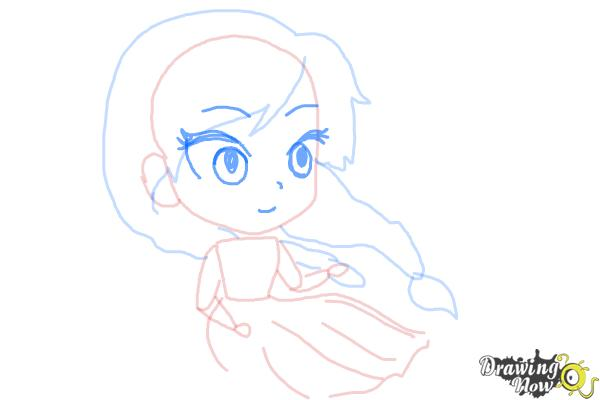 How to Draw Chibi Anna from Frozen - Step 6