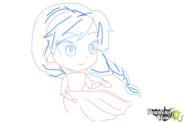 How to Draw Chibi Anna from Frozen - Step 7