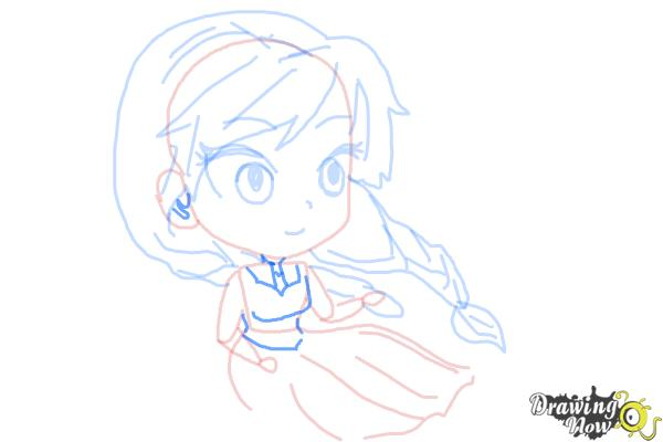How to Draw Chibi Anna from Frozen - Step 8