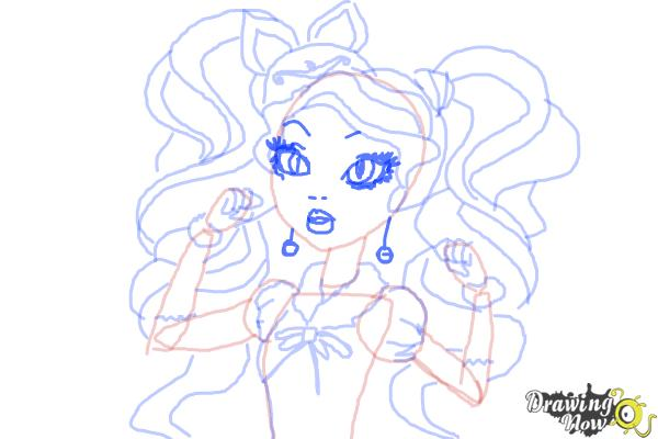 How to Draw Kitty Cheshire The Daughter Of The Cheshire Cat from Ever After High - Step 10