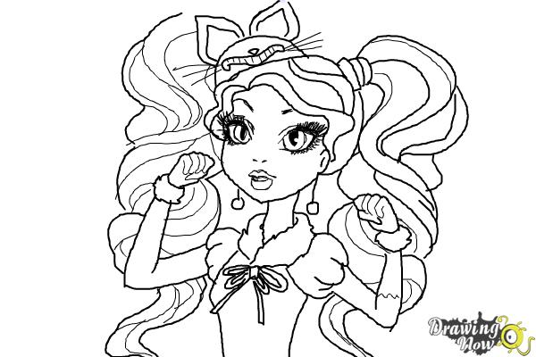 How to Draw Kitty Cheshire The Daughter Of The Cheshire Cat from Ever After High - Step 11