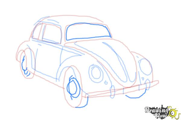 How to Draw a Volkswagen Beetle - Step 10
