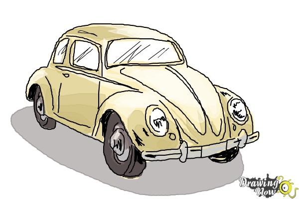 How to Draw a Volkswagen Beetle - Step 12