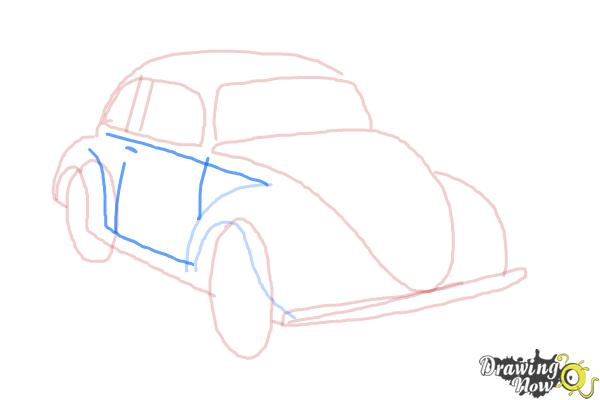 How to Draw a Volkswagen Beetle - Step 7