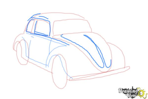 How to Draw a Volkswagen Beetle - Step 8