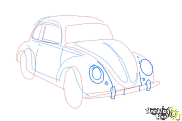 How to Draw a Volkswagen Beetle - Step 9