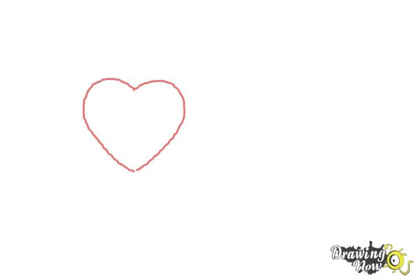 How to Draw a Valentine Heart - Step 1
