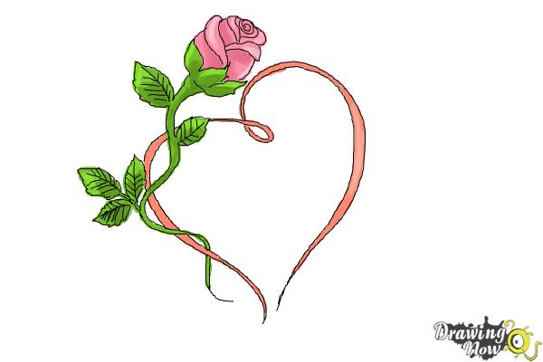How to Draw a Rose With a Heart | DrawingNow