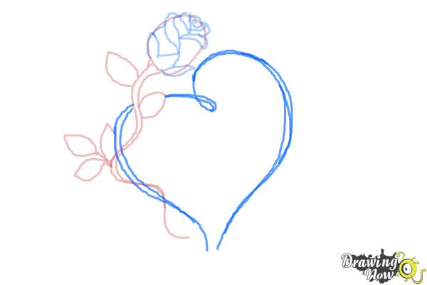 How to Draw a Rose With a Heart - Step 8