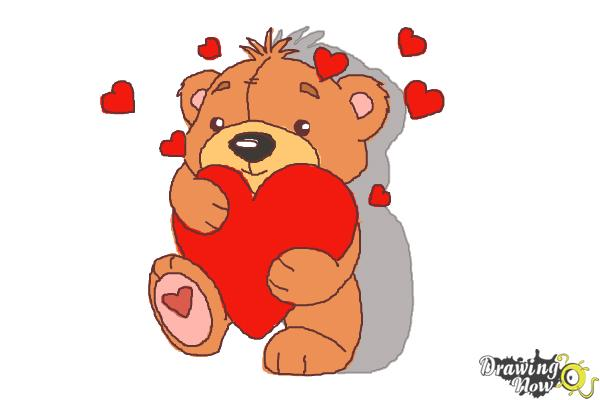 How to Draw a Valentine Bear - Step 10