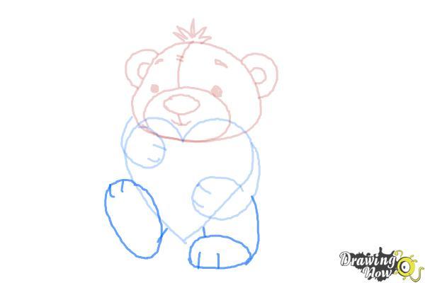 How to Draw a Valentine Bear - Step 7