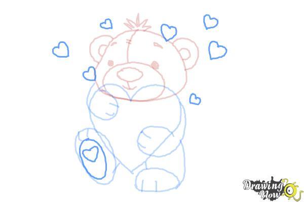 How to Draw a Valentine Bear - Step 8
