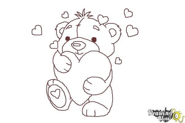 How to Draw a Valentine Bear - Step 9