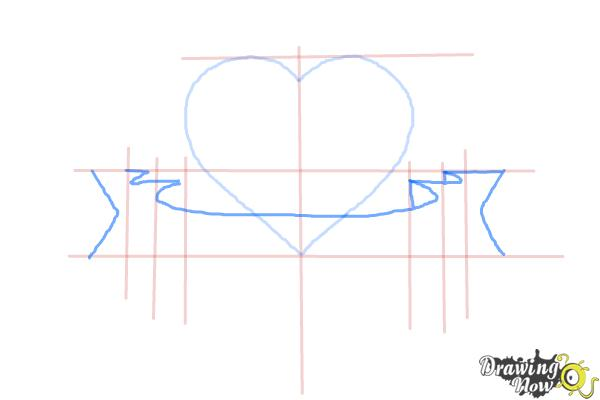 How to Draw a Heart With a Banner - Step 4
