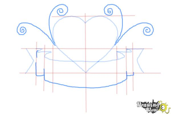 How to Draw a Heart With a Banner - Step 5