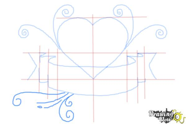 How to Draw a Heart With a Banner - Step 6