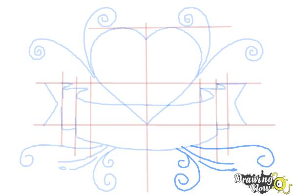 How to Draw a Heart With a Banner - Step 7