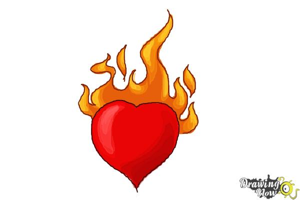 How to Draw a Heart On Fire - Step 5
