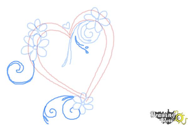 How to Draw a Fancy Heart - Step 6