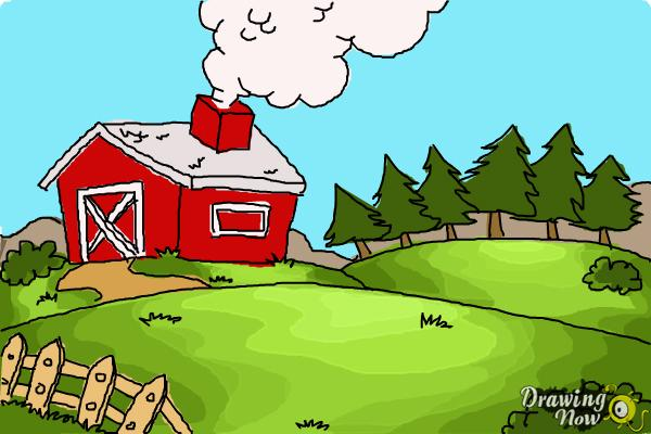 How to Draw a Farm - Step 11