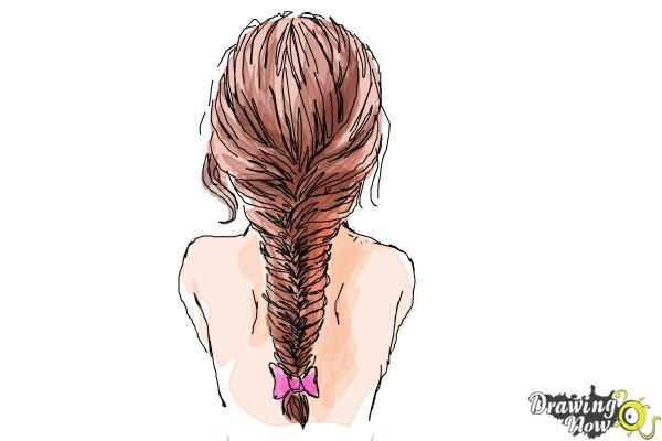 How to Draw a Fishtail Braid - DrawingNow