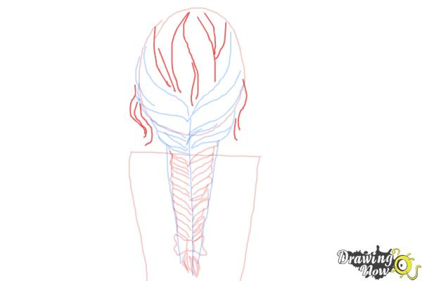 How to Draw a Fishtail Braid - Step 8