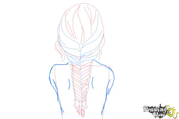 How to Draw a Fishtail Braid - Step 9