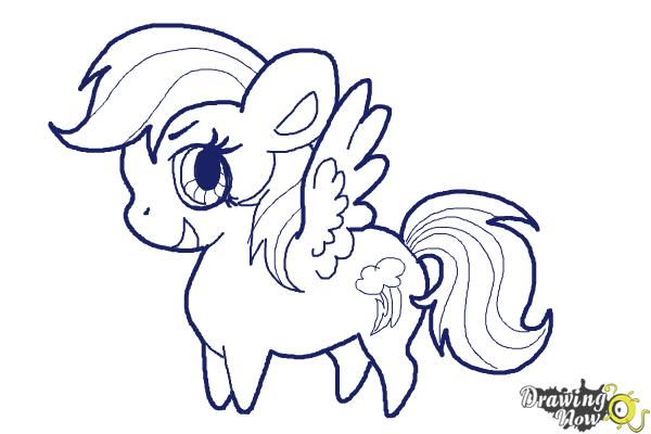 How to Draw Chibi Rainbow Dash from My Little Pony Friendship Is Magic - Step 7
