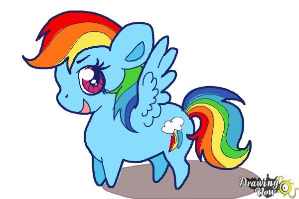 How to Draw Chibi Rainbow Dash from My Little Pony Friendship Is Magic - Step 8