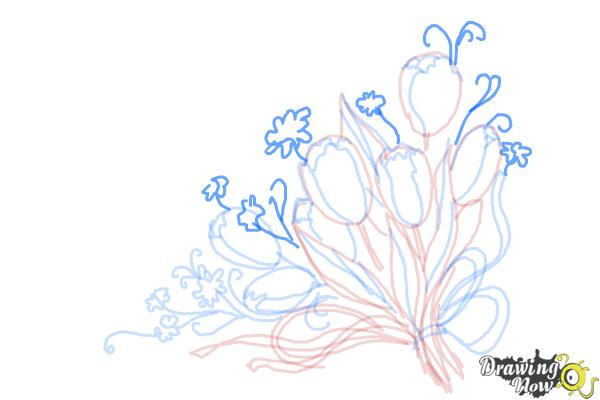How to Draw a Bouquet Of Flowers - Step 10
