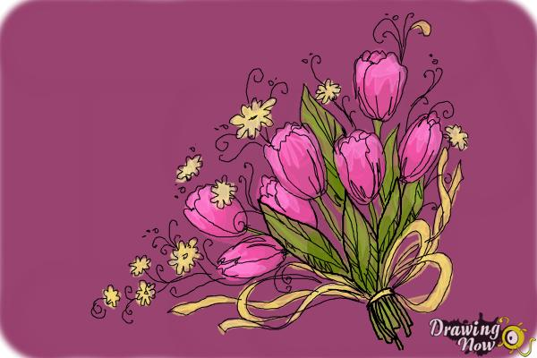 How to Draw a Bouquet Of Flowers - Step 12