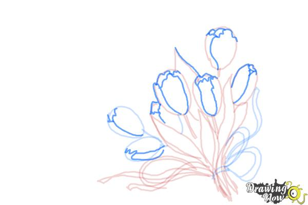How to Draw a Bouquet Of Flowers - Step 8