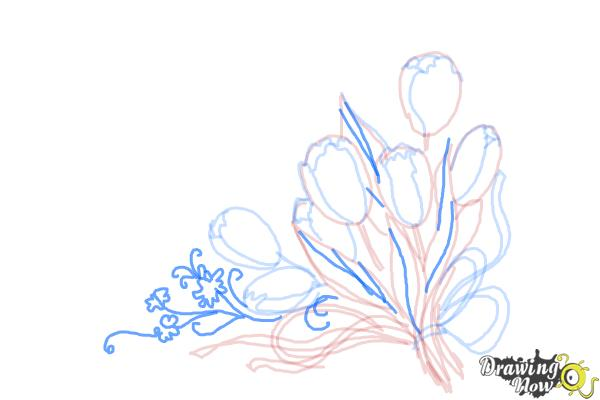 How to Draw a Bouquet Of Flowers - Step 9