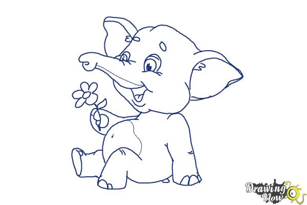 How to Draw a Cartoon Elephant - Step 11