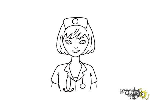 How to Draw a Nurse - Step 13