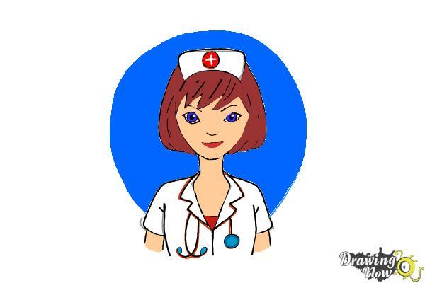 How to Draw a Nurse - Step 14