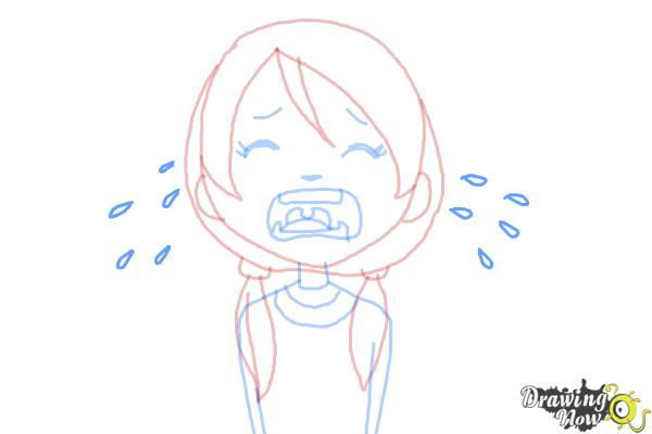 How to Draw a Girl Crying - Step 7
