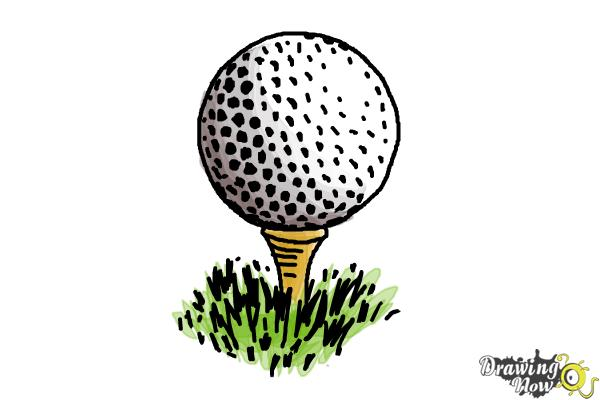 how to draw a golf ball step by step