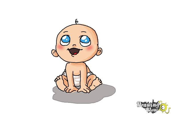 How to Draw a Newborn Baby - Step 10