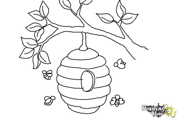 How to Draw a Beehive - Step 9