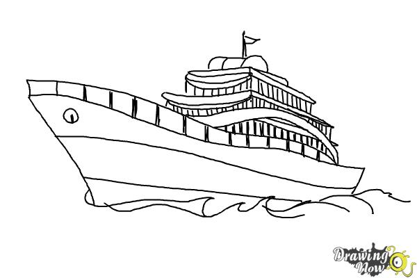 How to Draw a Yacht - Step 10